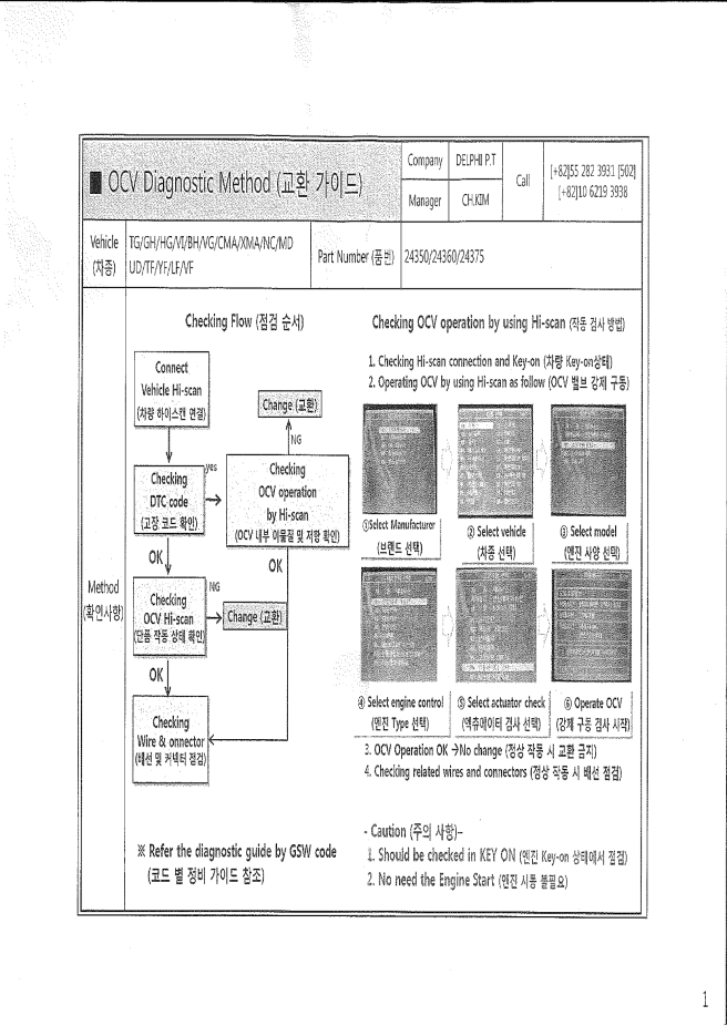OCV Diagnostic method
